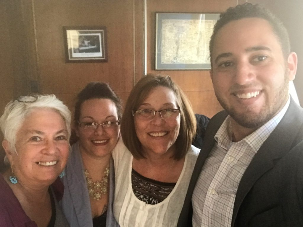 Ithaca Mayor, Svante Myrick; CIU Academic Counselor, Suzanne Burnham; OAR Parolee Case Manager, Jaime Coleman; CIU Director, Benay Rubenstien